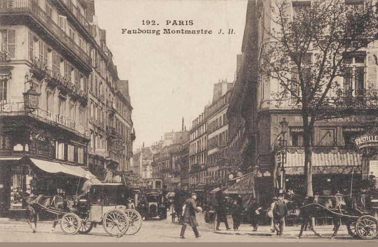 La rue du Faubourg-Montmartre, toujours aussi animée, vers 1900  (Paris 9ème)
