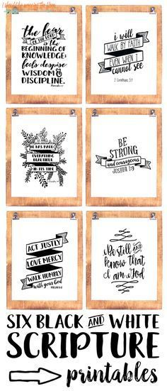 Six Black and White Scripture Printables: Bundle of six 8x10 scripture prints to frame for your home or office.