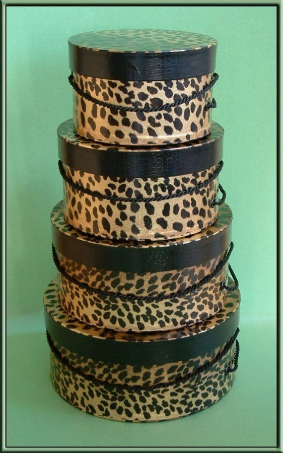 Textured Leopard Pattern hat boxes