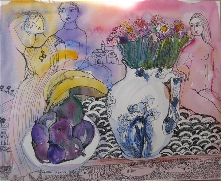 Figures, fruit and flowers, Camaret - Lydia Corbett