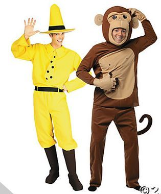 Cute couples Halloween costume idea: Curious George & The Man in the Yellow Hat