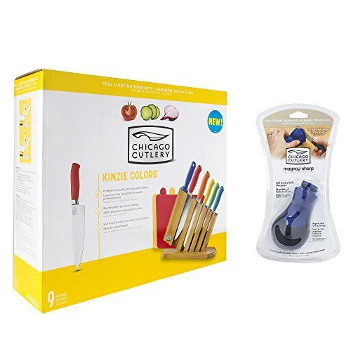 Chicago Cutlery 9Piece Kinzie Color Block Set and MagnaSharp Mouse Knife Sharpener -- More info @