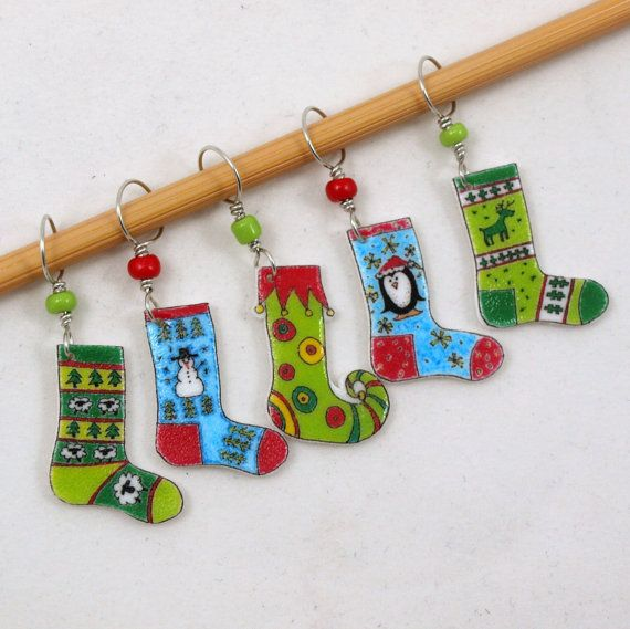 Christmas stocking stitch markers winter socks by needleclicksEtc