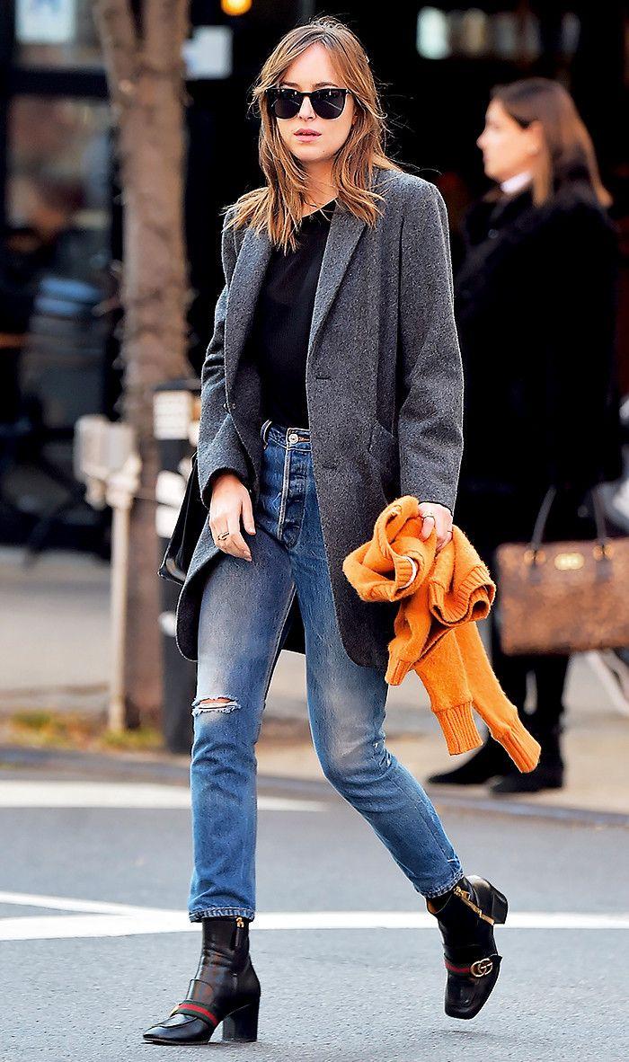 Dakota Johnson in A.P.C coat, Saint Laurent sunglasses and Gucci boots via @WhoWhatWear