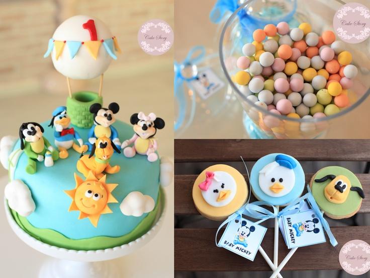 Baby mickey party ideas...bebek mickey parti fikirleri pasta ve kurabiyeler