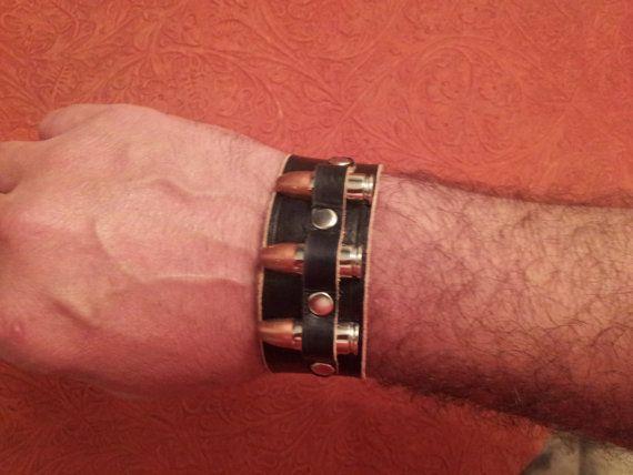 Handmade biker black genuine leather cuff bracelet, leather cuff bullet, men leather bracelets, women cuff bracelets, rustic cuff, unisex