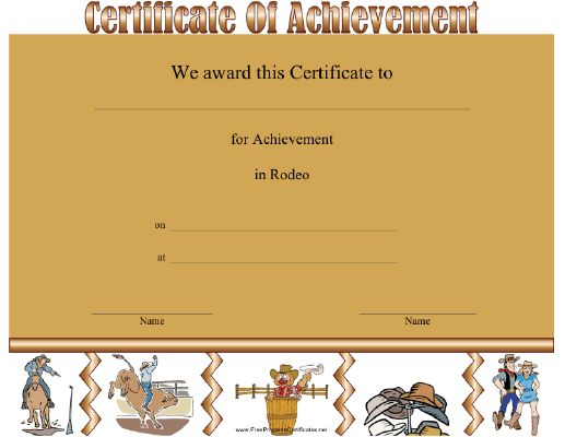 This Rodeo Apperication certificate features images of rodeo events and the west. Appropriate for rodeo event participants of all ages and abilities. Free to download and print
