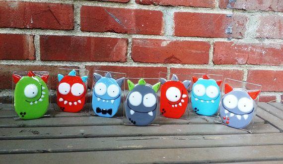 Nightlight, monster, custom, fused glass, turquoise, baby room decoration, nursery, shower gift, kid room, children