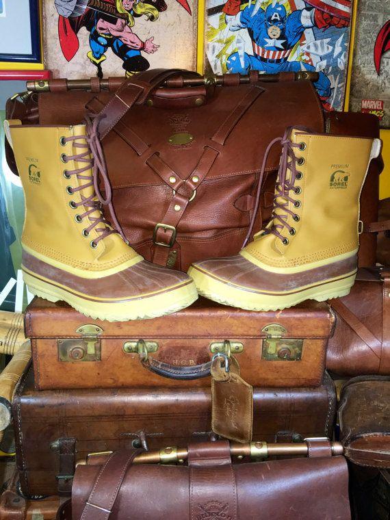 Mens Sorel 1964 Premium Tan Leather Waterproof Rubber Boots Snow Rain Hunting…