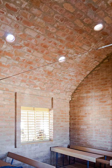 Primary school Tanouan Ibin in Mali by Levs Architecten.  Barrel vault.  Unfired brick.  Light prisms.