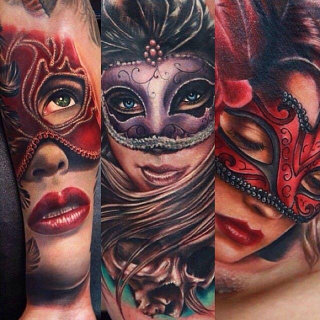 Masquerade masks worn by women tattoos