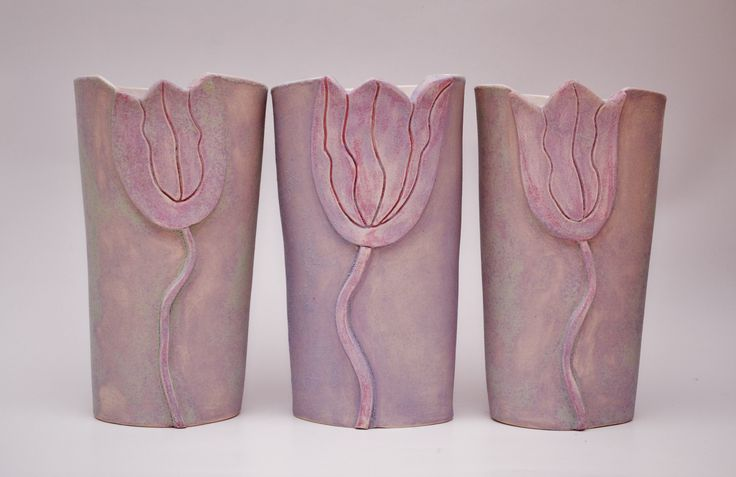 purple tulips vases by gail aspden