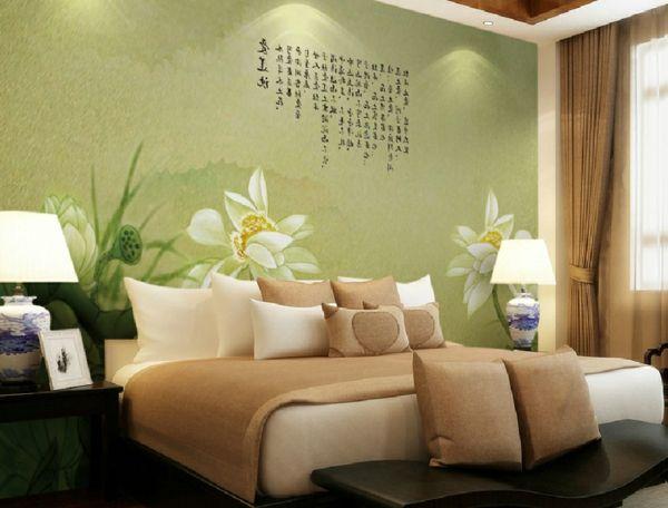 la d coration asiatique vous aide plonger dans un pr sent magique murs vert p le d coration. Black Bedroom Furniture Sets. Home Design Ideas