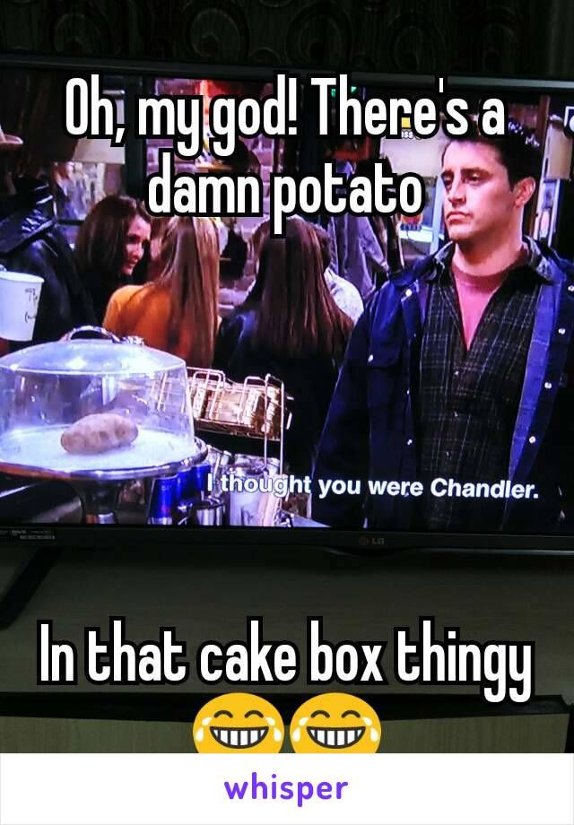 Oh, my god! There's a damn potato In that cake box thingy 😂😂