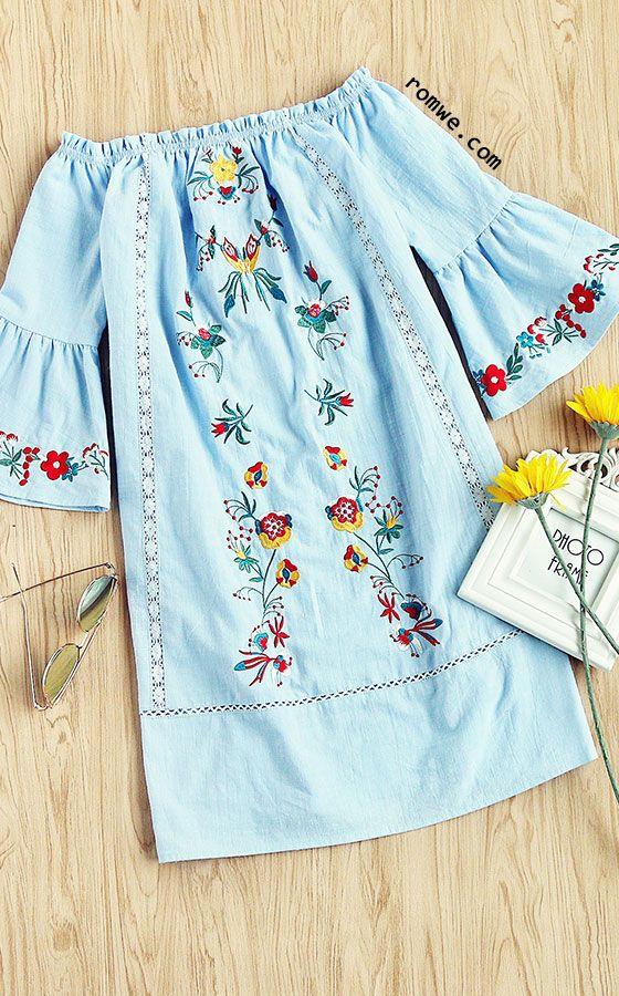 Symmetric Embroidery Trumpet Sleeve Lace Insert Bardot Dress