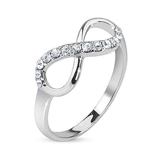 Paula & Fritz anillo de acero inoxidable ancho 75 mm plata Rhinestone infinity línea anillo tamaños: 47 (15) - 60 (19) http://amzn.to/2iI1iwQ