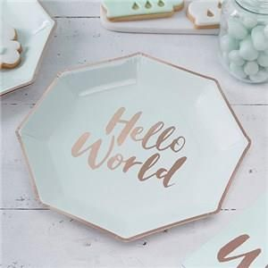 🎉 JUST ADDED - Itty Bitty Baby Shower Hello World Rose Gold Foil Plates 👶    VIEW HERE: