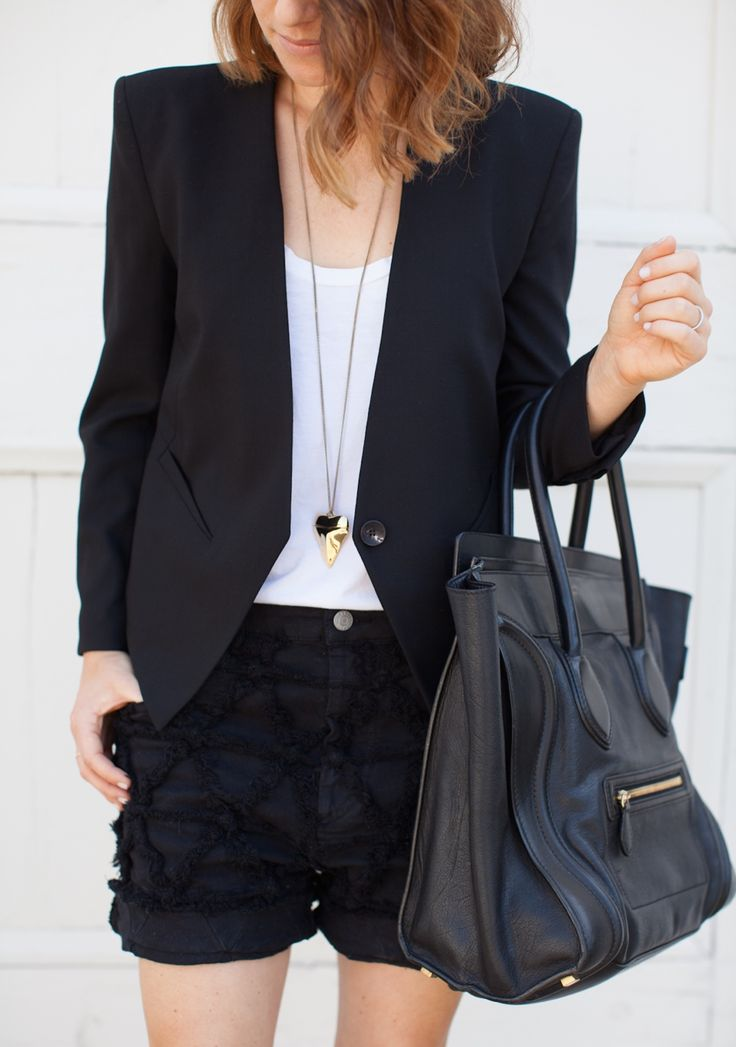 Love a touch of edge in my looks. I love the structured blazer with the dainty necklace and the pop of lace from the shorts!
