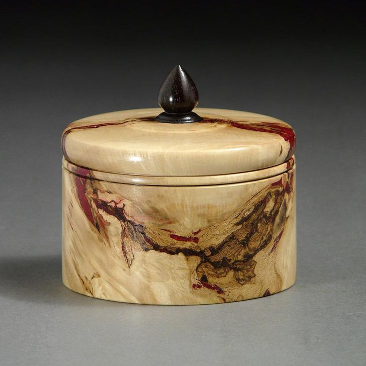 Boxelder Burl keepsake box, with Wenge pull. By New England woodturner Ray Asselin. At Bowlwood.com.
