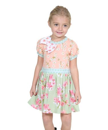Look at this #zulilyfind! Peach & Green Sweet Heart Bianca Dress - Infant, Toddler & Girls #zulilyfinds