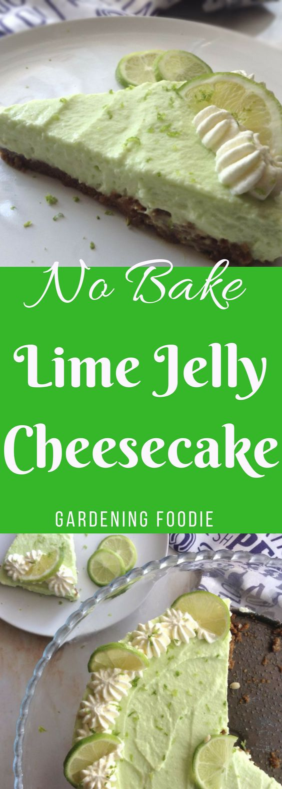 Prepared in just 10 minutes and set and ready to eat in 2 hours makes No Bake Lime Jelly cheesecake a great dessert. I absolutely love the tangy taste of lime and the ginger cookie crust which creates such a delicious flavor combination.