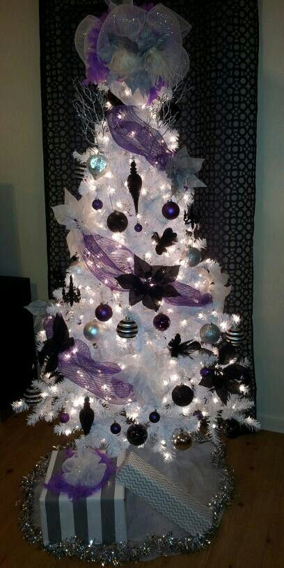 Black white purple silver christmas tree christmas - White and purple decorations ...