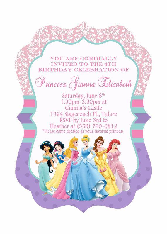 5x7 Ornate Disney Princess Birthday Invitation, Front & Back Side, Cinderella, Ariel, Sleeping Beauty