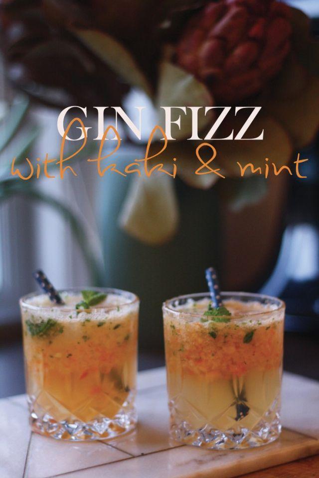 #TGIF – Gin Fizz med kakifrugt og mynte