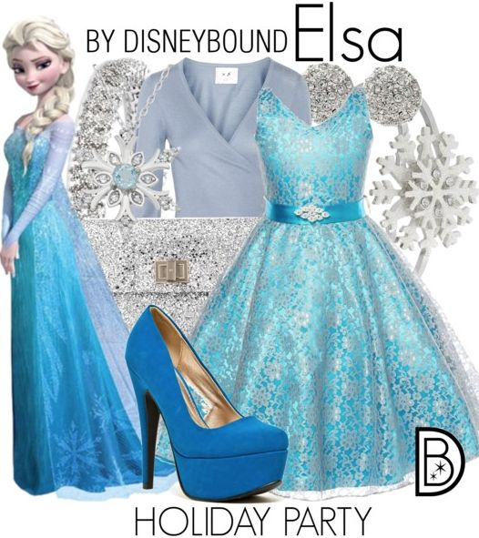Disney Bound - Elsa Holiday Party - I'm not an Elsa fan but I love the colors together!!