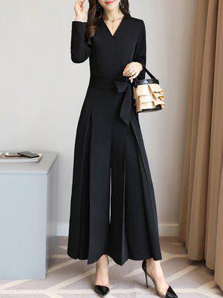 Folds Elegant Solid Long Sleeve Surplice Neck Jumpsuit