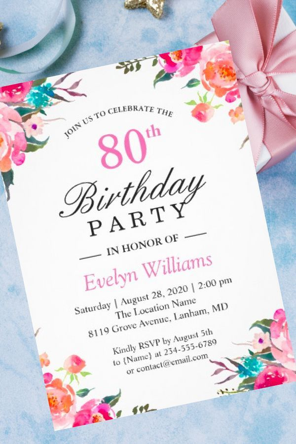 Watercolor Botanical Floral Wreath Birthday Party Invitation In 2019