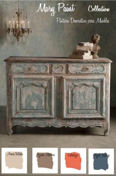mueble restarurado con pintura efecto tiza Mari paint