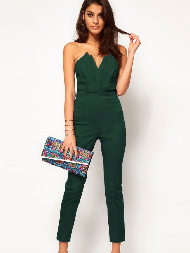 Fashion Solid Color Strapless High-Waisted Jumpsuit