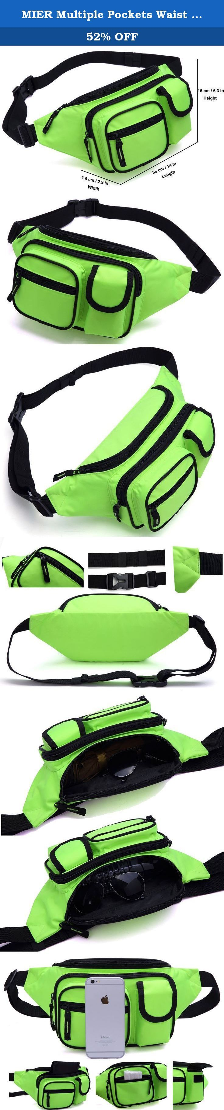"MIER Multiple Pockets Waist Tool Gear Bag Outdoor & Sports Unisex Waist Fanny Pack Travel Shoulder Bag, Green. Features: A Hip Belt Pouch could keep your personal effects safety and handy during your journey. It is a ROOMY CUTE fanny pack, Durable and Lightweight, zipper is high quality made and more smoothly than ordinary zipper. So enjoy your trip with MIER WAIST BAG Why Choose MIER Fanny Pack? 1. Famous brand zipper ""SBS"" be used for all MIER Bags, which is more smooth and durable than..."