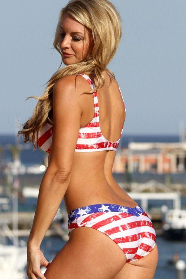 American flag bikini girl