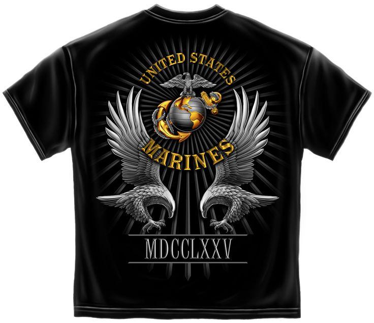 USMC Marine Corps Founded Date 1775 Black T-Shirt