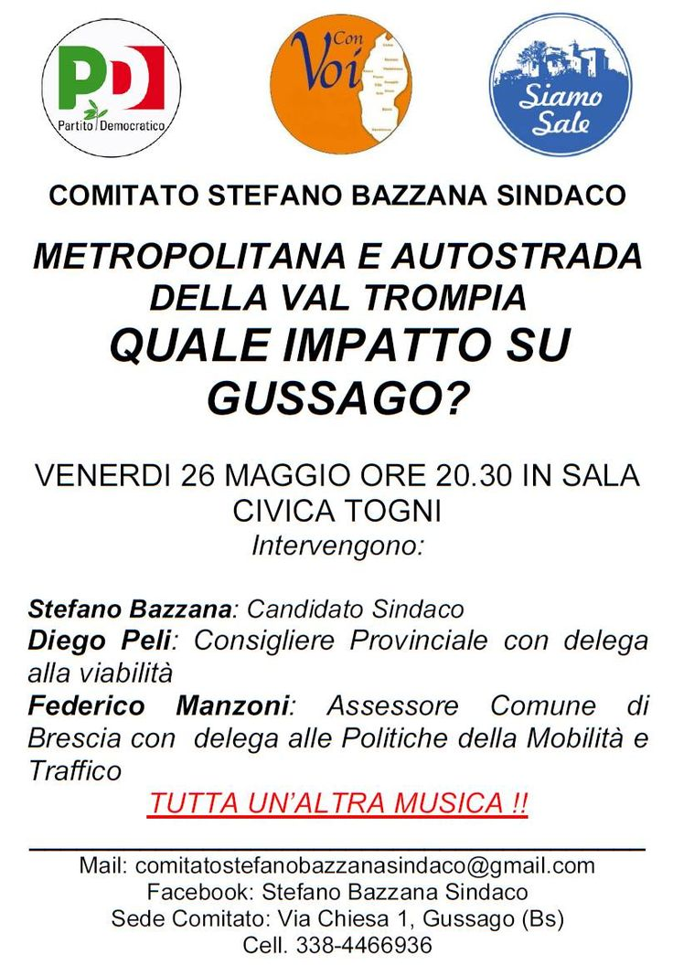 """Venerdì 26 maggio incontro """"Metropolitana e Autostrada della Val Trompia: quale impatto su Gussago?"""" - http://www.gussagonews.it/incontro-metropolitana-autostrada-val-trompia-impatto-su-gussago-maggio-2017/"""