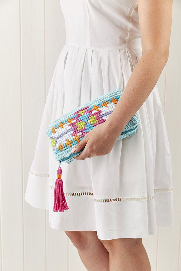 Love a craft mashup! Crochet clutch with cross stitch pattern