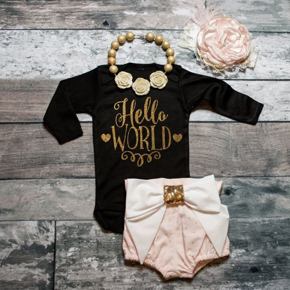 Baby Girl Clothes Hello World Bodysuit Baby by ShopVivaLaGlitter
