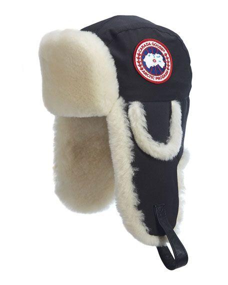 CANADA GOOSE Shearling Fur Pilot Hat, Black. #canadagoose #