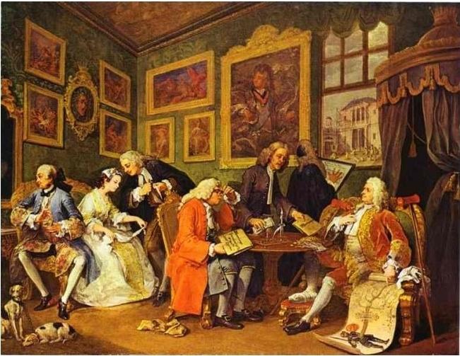 < 최신유행의 결혼- 결혼계약 >, 호가스, 1743~5. 호가스는 영국의 대표적인 풍자화가이다. 결혼 계약이 이루어지는 순간의 모습을 그린 이 그림에서도 영국 사회의 부도덕한 결혼 세태를 풍자하고 있다. 계약 주체는 신부와 신랑 측 아버지들이다. 왼쪽에 앉아있는 중산계급의 부유한 상인은 신분상승을 꿈꾸고, 그 맞은 편의 파탄직전인 백작은 금화를 받고 족보를 가리키며 허세를 부린다. 하지만 정작 결혼 당사자들은 심드렁한 모습이다. 화려하게 치장한 귀족 청년은 신부에게 등돌리고 앉아 관심도 주지 않고, 신부는 지금 상황이 어떻게 돌아가는지, 앞으로 자신의 미래가 어떠할 것인지 알지 못한채 애꿎은 손수건만 돌리고 있다. 눈길도 주지 않고 멍한 표정이라니....