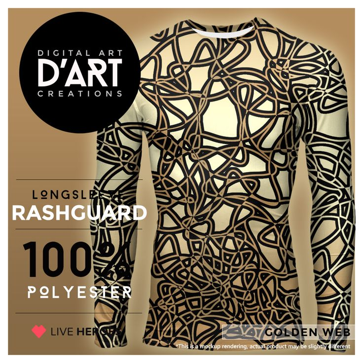 GOLDEN WEB... #abstract #mesh #web #organic #shapes #curves #lines #weave #shapes #stylish #golden #fit #fitted #sport #sportclothing #longsleeve #rashguard #formen #liveheroes #digitalarcreations