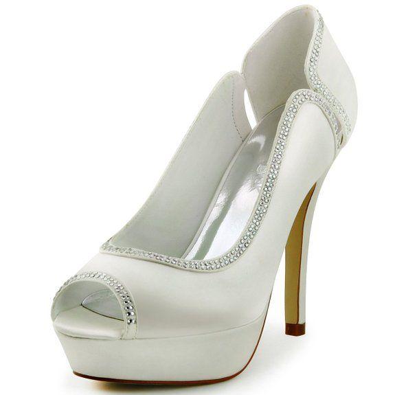 ElegantPark HP1503P Scarpe da sposa con tacco plateau peep toe (Avorio), 39