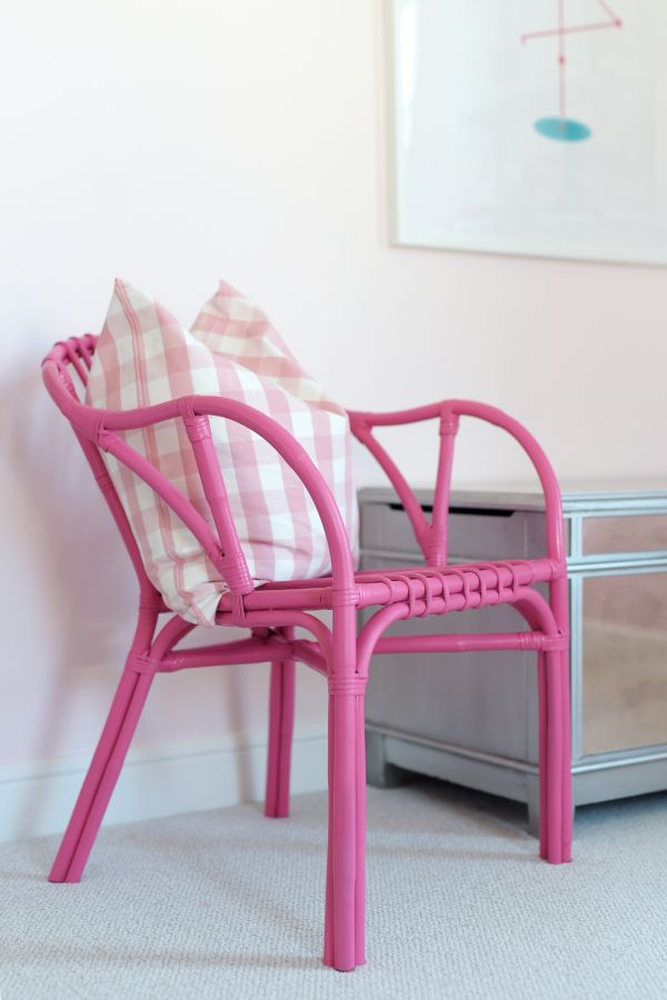 ikea holmsel hack pink ikea chair ikea gingham pillow