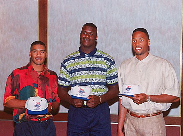 Jim Jackson, Shaquille O'Neal and Alonzo Mourning 1992. Jackson poses with LSU's Shaquille O'Neal and Georgetown center Alonzo Mourning. Jackson would be chosen fourth (behind O'Neal. Mourning and Christian Laether) by the Mavericks in the NBA draft.