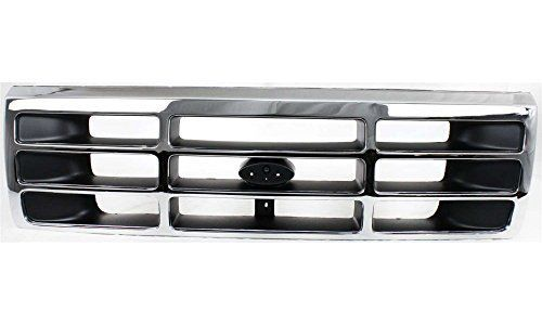 Evan-Fischer EVA17772011239 Grille for Ford F-Series 92-97 Plastic Chrome Shell W/Gray Insert Replaces Partslink# FO1200173. For product info go to:  https://www.caraccessoriesonlinemarket.com/evan-fischer-eva17772011239-grille-for-ford-f-series-92-97-plastic-chrome-shell-w-gray-insert-replaces-partslink-fo1200173/