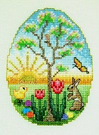 Eggcellent Easter Scene It's early Easter morning. The sun is just coming up, the apple blossoms are in bloom, and the flora and fauna are in abundance in this beautiful little egg-shaped Easter scene. Like many of the Glendon Place designs, Eggcellent Easter Scene incorporates regular Anchor/DMC floss, Kreinik metallic braid and Mill Hill Glass …