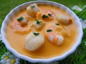 Ingrédients :  50 g de carotte  1 gousse d'ail  1 échalote  40 g de beurre  350 g de crevettes cuites non décortiquées  700 g d'eau  2 ...