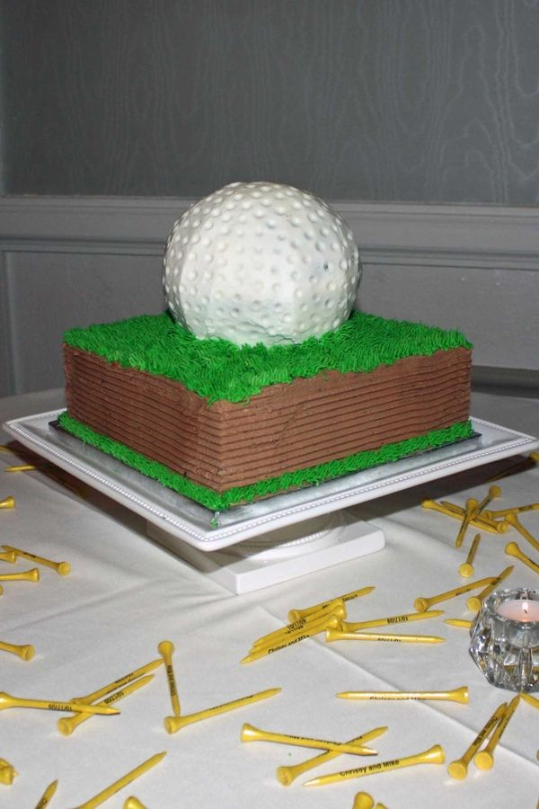 Golfball+Groom+S+Cake+Choc+Square+Layer+Coverd+With+Bc+And++cakepins.com