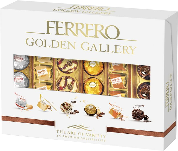 Ferrero Golden Gallery - classic favourites Ferrero Rocher and Ferrero Rondnoir are joined by four new flavours - Cappuccino, Manderly, Tenderly Nougat and Tenderly White.